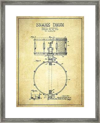 Snare Drum Patent Drawing From 1939 - Vintage Framed Print by Aged Pixel