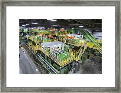 Waste Sorting At A Recycling Centre Framed Print