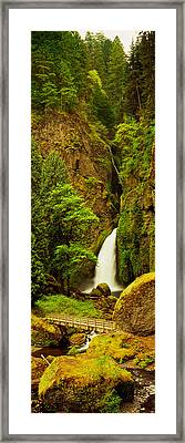 Waterfall In A Forest, Columbia River Framed Print