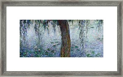 Waterlilies Morning With Weeping Willows Framed Print by Claude Monet