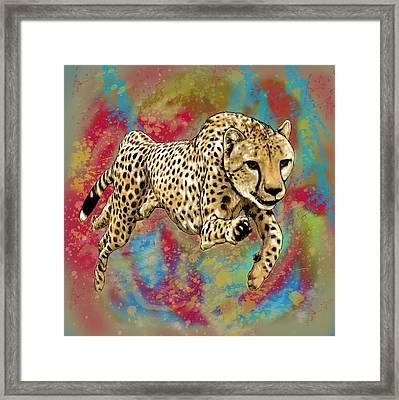 Wild Animal Stylised Pop Art Drawing Potrait Poser Framed Print