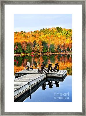 Wooden Dock On Autumn Lake Framed Print