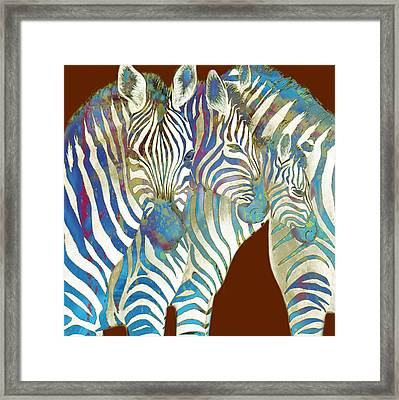 Zebra - Stylised Drawing Art Poster Framed Print by Kim Wang