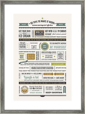 50 Marriage Tips In Spring Colors Framed Print by Megan Romo