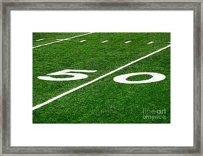 50 Yard Line On Football Field Framed Print
