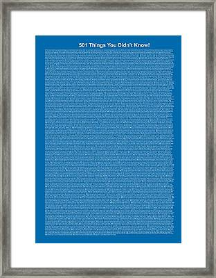 501 Things You Didn't Know - Blue Cadet Color Framed Print by Pamela Johnson