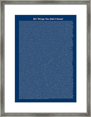 501 Things You Didn't Know - Blue Color Framed Print by Pamela Johnson