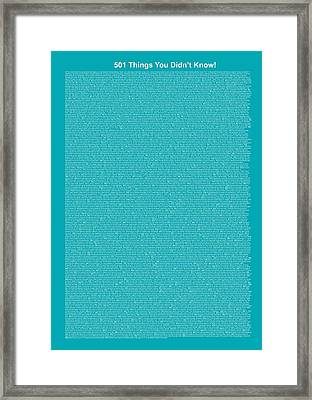 501 Things You Didn't Know - Blue Ocean Color Framed Print by Pamela Johnson