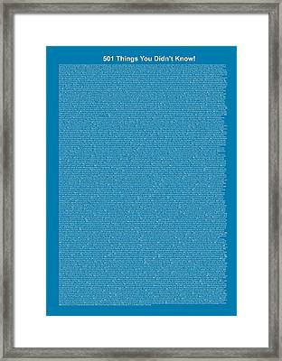 501 Things You Didn't Know - Blue Steel Color Framed Print by Pamela Johnson