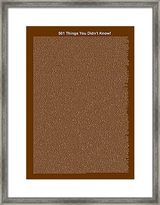 501 Things You Didn't Know - Dark Brown Color Framed Print by Pamela Johnson