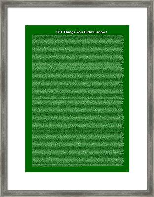501 Things You Didn't Know - Dark Green Color Framed Print by Pamela Johnson