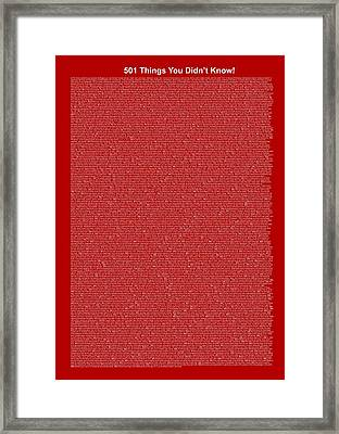 501 Things You Didn't Know - Dark Red Color Framed Print by Pamela Johnson