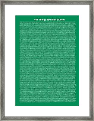 501 Things You Didn't Know - Dark Sea Green Color Framed Print by Pamela Johnson