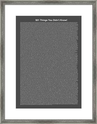 501 Things You Didn't Know - Gray Midnight Color Framed Print by Pamela Johnson
