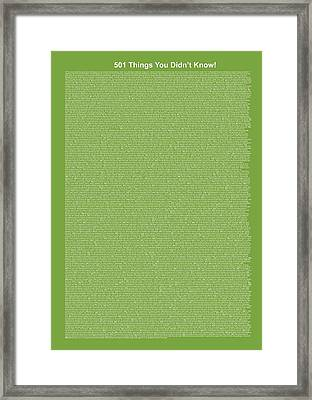 501 Things You Didn't Know - Green Apple Color Framed Print by Pamela Johnson