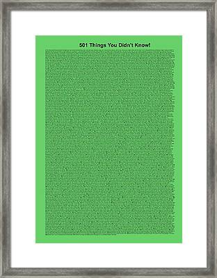 501 Things You Didn't Know - Green Mint Color Framed Print by Pamela Johnson