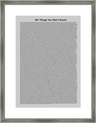 501 Things You Didn't Know - Gray Color Framed Print by Pamela Johnson
