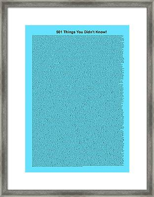 501 Things You Didn't Know - Light Blue Color Framed Print by Pamela Johnson