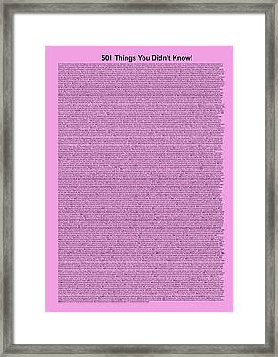 501 Things You Didn't Know - Lilac Color Framed Print by Pamela Johnson