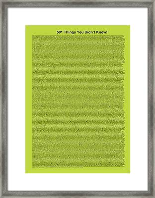 501 Things You Didn't Know - Lime Color Framed Print by Pamela Johnson