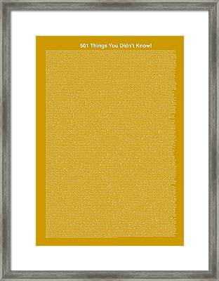 501 Things You Didn't Know - Olive Color Framed Print by Pamela Johnson