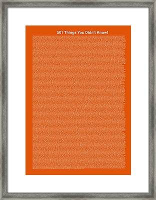 501 Things You Didn't Know - Pumpkin Pie Color Framed Print by Pamela Johnson