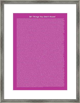 501 Things You Didn't Know - Purple Color Framed Print by Pamela Johnson