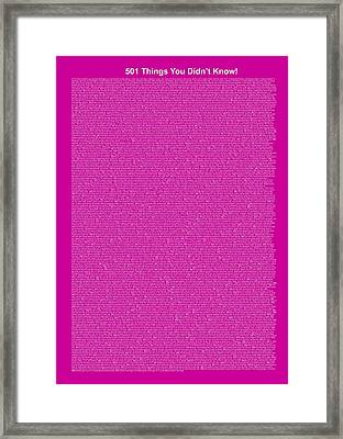 501 Things You Didn't Know - Purple Intense Color Framed Print by Pamela Johnson