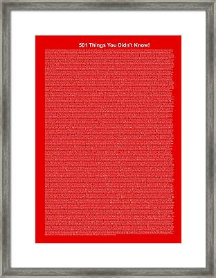 501 Things You Didn't Know - Red Color Framed Print by Pamela Johnson