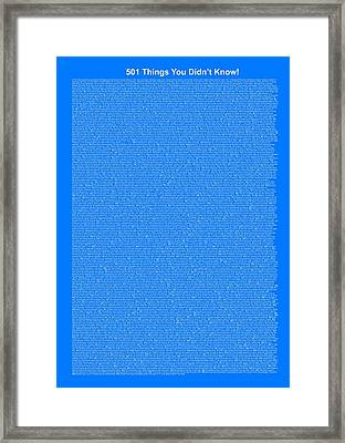 501 Things You Didn't Know - Royal Blue Color Framed Print by Pamela Johnson