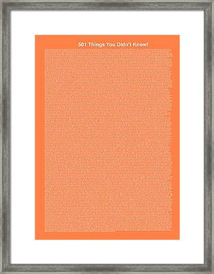501 Things You Didn't Know - Salmon Color Framed Print by Pamela Johnson