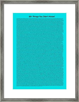 501 Things You Didn't Know - Turquoise Color Framed Print by Pamela Johnson