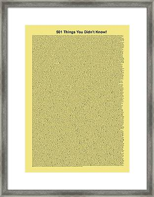 501 Things You Didn't Know - Yellow Butter Color Framed Print