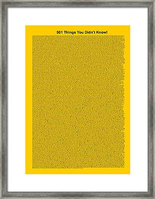 501 Things You Didn't Know - Yellow Gold Color Framed Print by Pamela Johnson