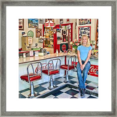 50s American Style Soda Fountain Framed Print