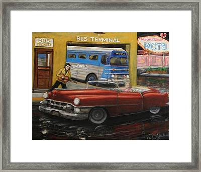 50s Bus Stop Sold Prints Avail Framed Print by Larry E Lamb