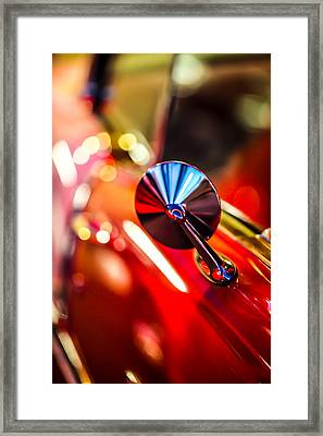 50's Red Chevy Bel Air Rearview Mirror Framed Print by Shanna Gillette