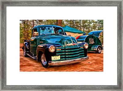 '51 Chevy Pickup With Teardrop Trailer Framed Print by Michael Pickett
