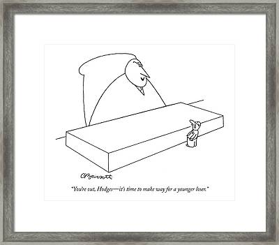 You're Out, Hodges - It's Time To Make Way Framed Print by Charles Barsotti