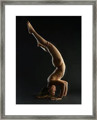 5137 Nude Woman Headstand  Framed Print by Chris Maher
