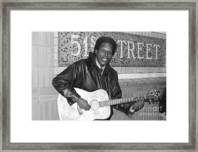 Framed Print featuring the photograph 51st Street Subway Musician by John Telfer