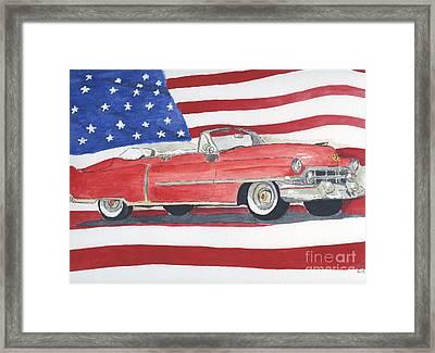 52 Cadillac Convertible Framed Print by Eva Ason