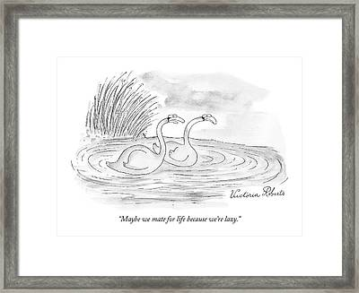 Maybe We Mate For Life Because We're Lazy Framed Print