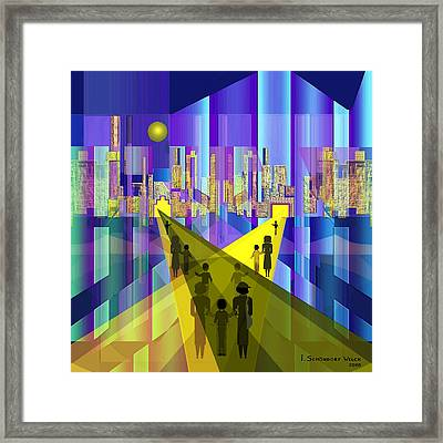 529 - Neon City ... Framed Print by Irmgard Schoendorf Welch