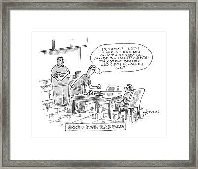 Good Dad, Bad Dad Framed Print by Mick Stevens