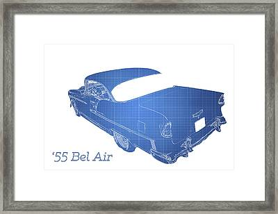 Blue Framed Print featuring the photograph '55 Bel Air by Aaron Berg