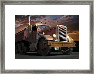 '55 Peterbilt Sunset Framed Print by Stuart Swartz