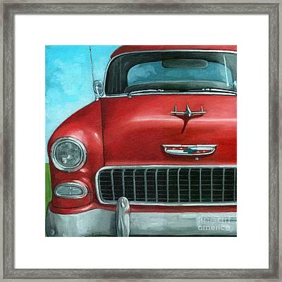 55' Vintage Red Chevy Framed Print by Linda Apple