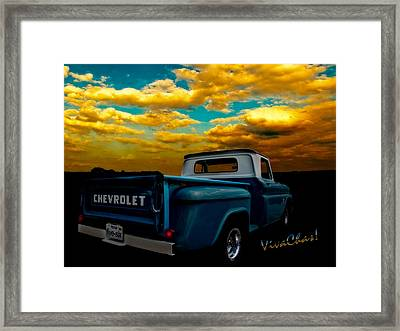 56 Chevy Truck And The Lake Canyon Sunset Framed Print