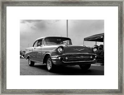 57 Chevy Bel-aire In Bw Framed Print by Don Durante Jr